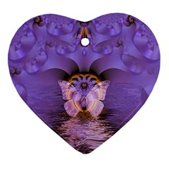 Artsy Purple Awareness Butterfly Heart Ornament by FunWithFibro