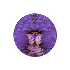 Artsy Purple Awareness Butterfly Drink Coaster (round) by FunWithFibro