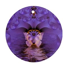 Artsy Purple Awareness Butterfly Round Ornament (two Sides) by FunWithFibro