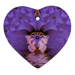 Artsy Purple Awareness Butterfly Heart Ornament (two Sides) by FunWithFibro