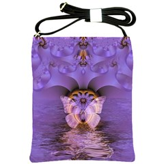 Artsy Purple Awareness Butterfly Shoulder Sling Bag by FunWithFibro