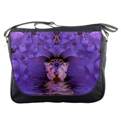 Artsy Purple Awareness Butterfly Messenger Bag by FunWithFibro