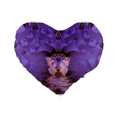 Artsy Purple Awareness Butterfly 16  Premium Heart Shape Cushion  by FunWithFibro