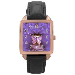 Artsy Purple Awareness Butterfly Rose Gold Leather Watch  by FunWithFibro