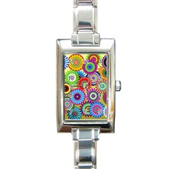 Psychedelic Flowers Rectangular Italian Charm Watch by StuffOrSomething