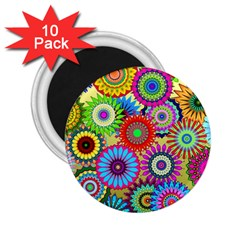 Psychedelic Flowers 2 25  Button Magnet (10 Pack) by StuffOrSomething