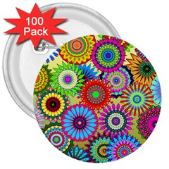 Psychedelic Flowers 3  Button (100 Pack) by StuffOrSomething