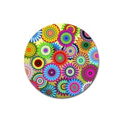 Psychedelic Flowers Magnet 3  (round) by StuffOrSomething