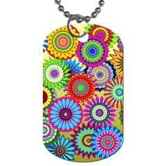 Psychedelic Flowers Dog Tag (one Sided) by StuffOrSomething