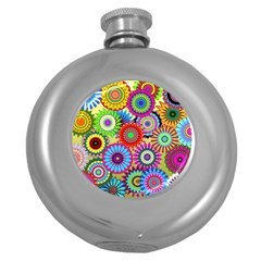 Psychedelic Flowers Hip Flask (round) by StuffOrSomething