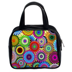 Psychedelic Flowers Classic Handbag (Two Sides) by StuffOrSomething