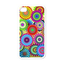 Psychedelic Flowers Apple Iphone 4 Case (white) by StuffOrSomething
