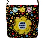 Flower Flap Closure Messenger Bag #4 - Flap Closure Messenger Bag (L)