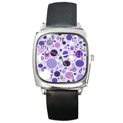 Purple Awareness Dots Square Leather Watch by FunWithFibro