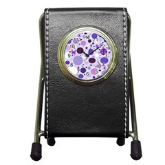 Purple Awareness Dots Stationery Holder Clock by FunWithFibro