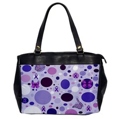 Purple Awareness Dots Oversize Office Handbag (one Side) by FunWithFibro