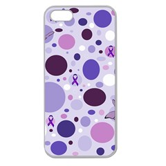 Purple Awareness Dots Apple Seamless Iphone 5 Case (clear) by FunWithFibro