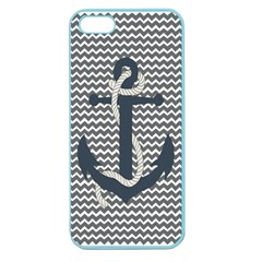 Grey Chevron With Navy Anchor Apple Seamless Iphone 5 Case (color) by thelittlelady