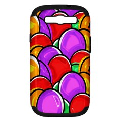 Colored Easter Eggs Samsung Galaxy S Iii Hardshell Case (pc+silicone) by StuffOrSomething