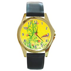 Whimsical Tulips Round Leather Watch (gold Rim)  by StuffOrSomething