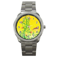 Whimsical Tulips Sport Metal Watch by StuffOrSomething