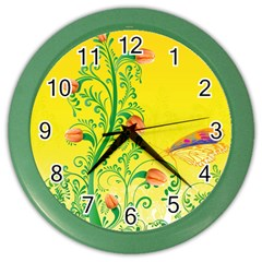 Whimsical Tulips Wall Clock (color) by StuffOrSomething