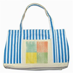 Pastel Textured Squares Blue Striped Tote Bag by StuffOrSomething