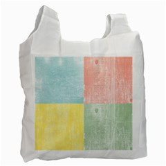 Pastel Textured Squares White Reusable Bag (one Side) by StuffOrSomething