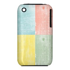 Pastel Textured Squares Apple Iphone 3g/3gs Hardshell Case (pc+silicone) by StuffOrSomething
