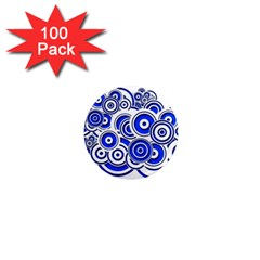 Trippy Blue Swirls 1  Mini Button Magnet (100 Pack) by StuffOrSomething