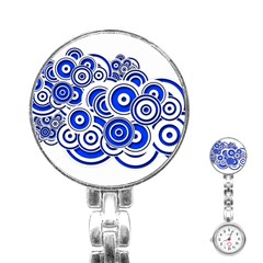 Trippy Blue Swirls Stainless Steel Nurses Watch by StuffOrSomething
