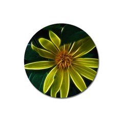 Yellow Wildflower Abstract Magnet 3  (round) by bloomingvinedesign