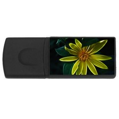 Yellow Wildflower Abstract 4gb Usb Flash Drive (rectangle) by bloomingvinedesign