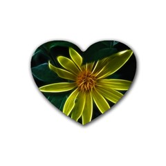 Yellow Wildflower Abstract Drink Coasters 4 Pack (heart)  by bloomingvinedesign
