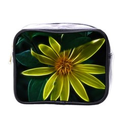 Yellow Wildflower Abstract Mini Travel Toiletry Bag (one Side) by bloomingvinedesign