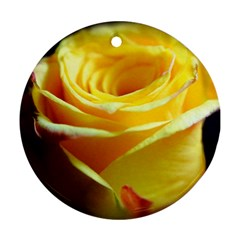 Yellow Rose Curling Round Ornament by bloomingvinedesign