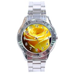 Yellow Rose Curling Stainless Steel Watch by bloomingvinedesign