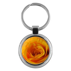 Yellow Rose Close Up Key Chain (round) by bloomingvinedesign
