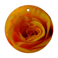 Yellow Rose Close Up Round Ornament (two Sides) by bloomingvinedesign