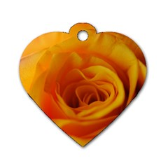 Yellow Rose Close Up Dog Tag Heart (one Sided)  by bloomingvinedesign