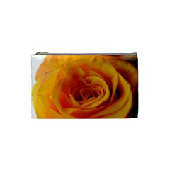 Yellow Rose Close Up Cosmetic Bag (small) by bloomingvinedesign