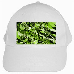 Retro Green Abstract White Baseball Cap by StuffOrSomething