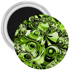 Retro Green Abstract 3  Button Magnet by StuffOrSomething
