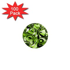 Retro Green Abstract 1  Mini Button Magnet (100 Pack) by StuffOrSomething