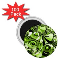 Retro Green Abstract 1 75  Button Magnet (100 Pack) by StuffOrSomething