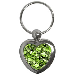 Retro Green Abstract Key Chain (heart) by StuffOrSomething
