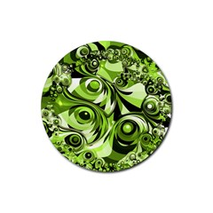 Retro Green Abstract Drink Coaster (round) by StuffOrSomething