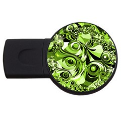 Retro Green Abstract 2gb Usb Flash Drive (round) by StuffOrSomething
