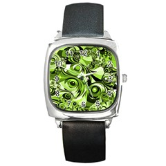 Retro Green Abstract Square Leather Watch by StuffOrSomething
