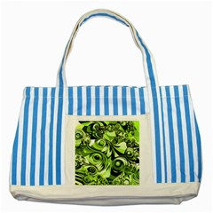 Retro Green Abstract Blue Striped Tote Bag by StuffOrSomething